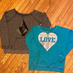 Tops - Bundle (2) Wide Neck Sweatshirts Juniors S/M cute