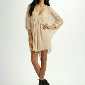 DVF Fleurette Silk Chiffon Kaftan Dress in Nude