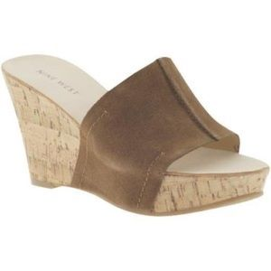 Nine West Ersilia suede and cork mule wedges.