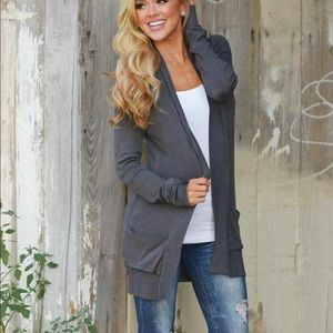 Boutique Small Charcoal Cardigan.  NWT