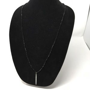 Gorjana Black Beaded Silver Taner Pendant Necklace