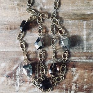 Jewelry - Vintage Multi Stone/Gold Chain Link Necklace