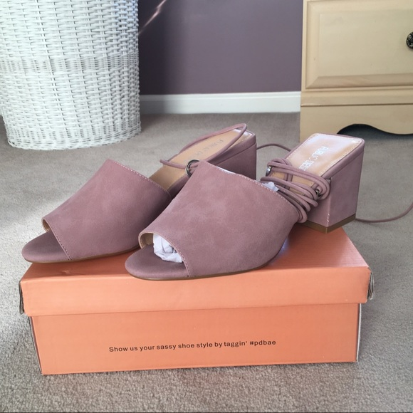 6ba413266d49 Paddington Lace Up Block Heeled Mules in Mauve