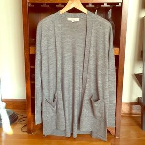 LOFT gray open cardigan