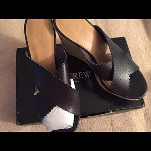 New in box wedge leather heels by JCrew.