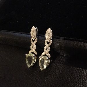 Jewelry - Prasiolite & diamond accent sterling earrings