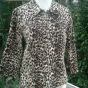 Women's petite leopard cropped jacket PL
