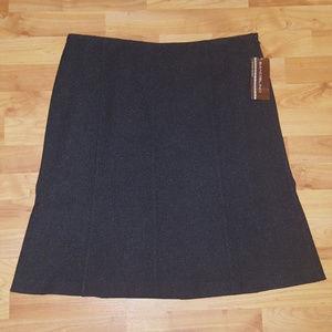 BANDOLINO Charcoal Gray A-Line Vienna Skirt Sz 16