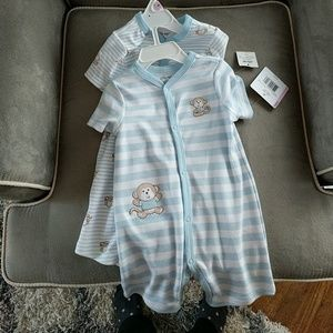 Set of two short sleeve rompers for baby boy