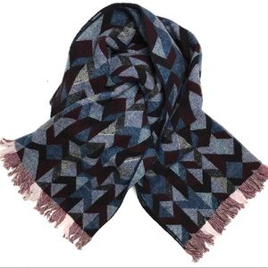 J. Crew Wool Blanket Scarf Oversized Blue Burgundy