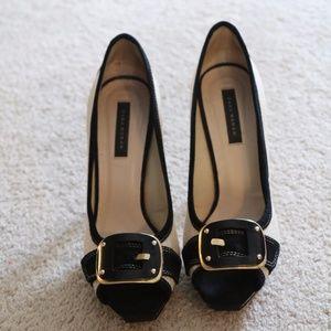 Zara Woman Black and Tan peeptoe heel