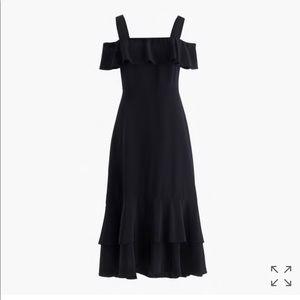 Jcrew cold shoulder silk dress