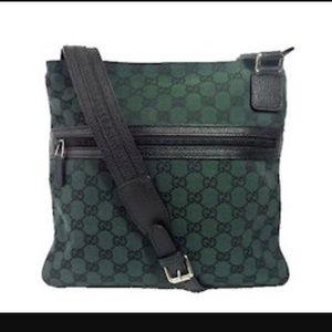 GUCCI canvas shoulder messenger bag in green