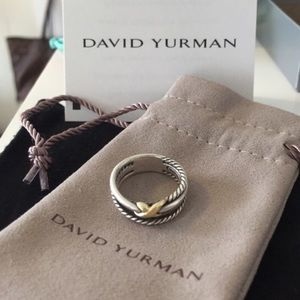 David Yurman size 6 crossover ring with gold