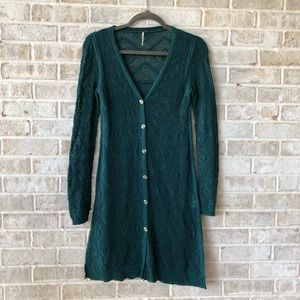 Free People Cardigan Small Sweater S Teal Long