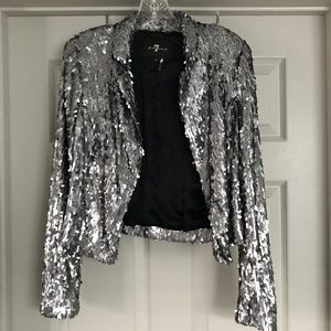 7 for all Mankind Silver Sequin Jacket SzMedium