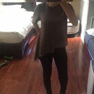 Garcia brown suede asymmetrical shirt