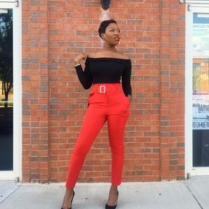 NY & Company Paperbag Waist Slim Leg Pant Red