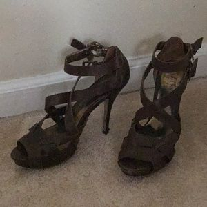Guess brown heeled sandals.