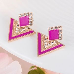 Jewelry - Vintage Gold & Pink Crystal Triangle Earrings