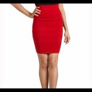 Express Red Stretch Pencil Skirt (6)
