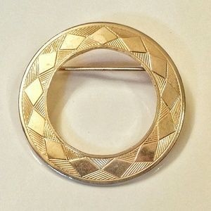 Vintage Etched Gold Toned Brooch, (Scarf/Pin )