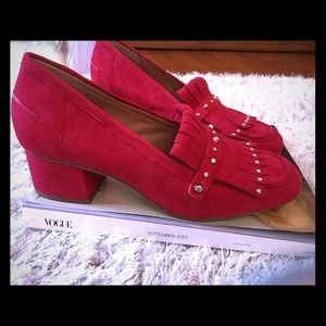 Fringe suede Loafer, Red