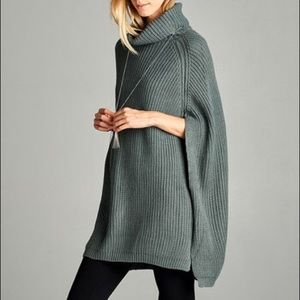 Gray Sweater Poncho