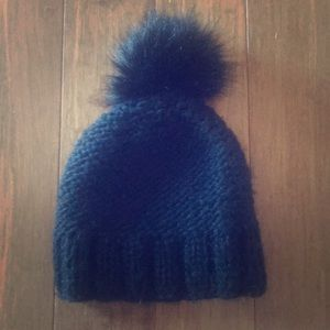 Express Knit Black Pom Pom Beanie