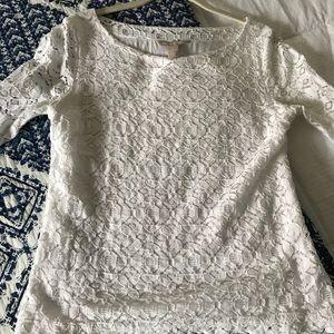 White 3/4 sleeve Banana Republic lace top