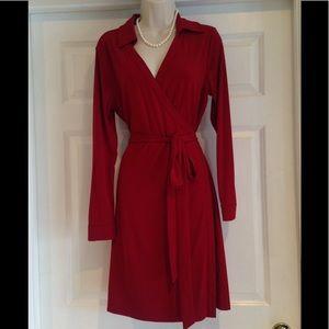 CALVIN KLEIN RED WRAP LONG SLEEVE DRESS