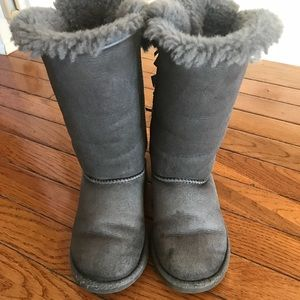 Gray Bailey bow tall uggs. Size 13