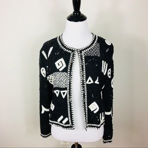 Vintage Beaded Sequin Cardigan Jacket Black White