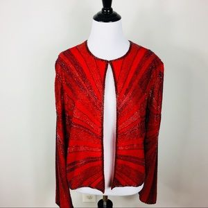 Vintage Beaded Jacket Evening Bling Red Holiday M
