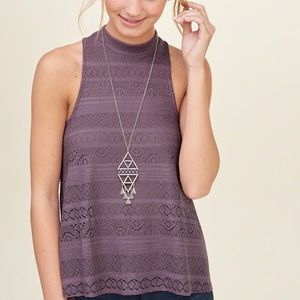 Hollister Lace Mock Neck Top