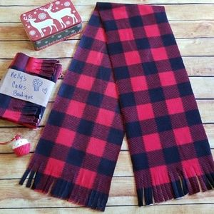 🎁🎄Black & Red Buffalo Checkered Fleece Scarf