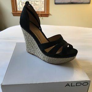 Aldo black tall wedges