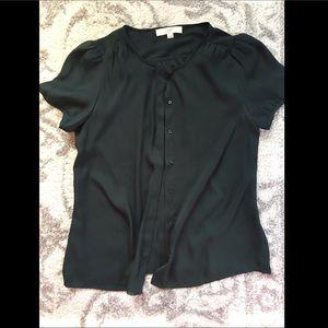 Green Button Up Short Sleeve Women's Blouse