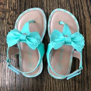 Toddler Girls Mint Colored Bow Sandals