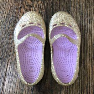 Toddler Girls Gold Sparkle Crocs