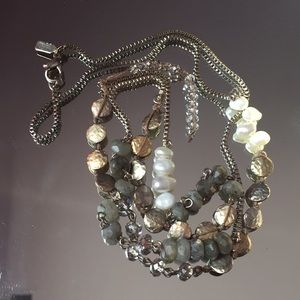 J. Jill Pearl, Stone and Crystal Necklace