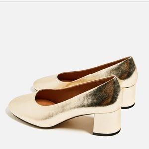 Zara Metallic Gold Heels