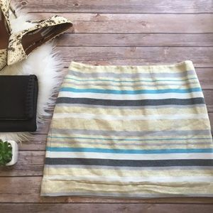 🆕 Ann Taylor LOFT Metallic Stripe Mini Skirt 8