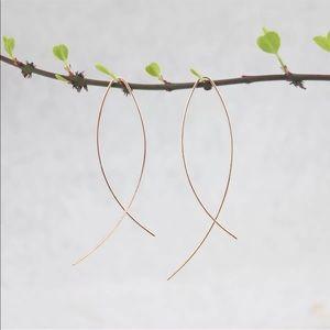 NEW Rose Gold Fish Hoop Threader Earrings