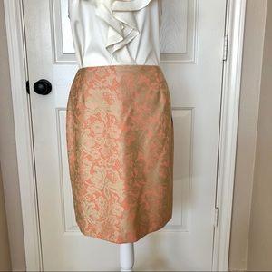 Antonio Melani Orange/Gold lace pencil skirt. Sz 6