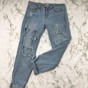 Sneak Peek Ripped Distressed Boyfriend Jeans