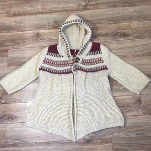 Free People Hooded Cardigan Aztec Sweater