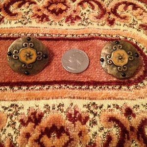Beautiful clip on button earrings