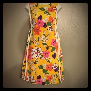 Vintage 60s Go-Ins Mod Print Apron Dress S-M