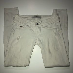 Hollister White Distressed Zippered Ankle Jeans